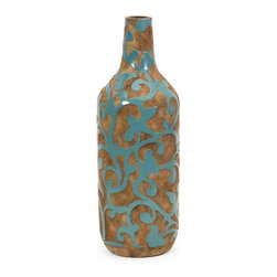 iMax - Crestly Large Vase - Rustic elegance imbues the large Cresty vase with natural appeal with its raw earthenware body decorated in a blue glazed bird and vine pattern. For a coordinated look, purchase all three sizes.