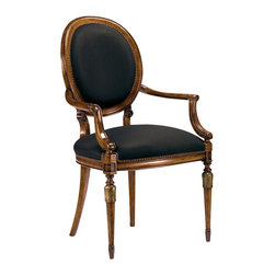 """Inviting Home - Louis XVI Style Armchair - Louis XVI style carved beechwood armchair; seat: 22""""W x 20-1/2""""D x 20-1/2""""H; back: 39-3/4""""H; arms: 26""""H; hand-made in Italy; Louis XVI style carved beech wood chairs with hand-rubbed walnut finish antiqued silver-leaf accents and black muslin upholstery. These carved wood chairs are hand-crafted in Italy."""