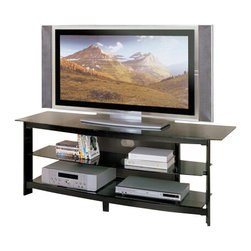 """ACMACM02120 - Horizon Collection Black Finish Wood and Metal TV Stand Entertainment Center - Horizon collection black finish wood and metal TV stand entertainment center unit with storage shelves. Features a black finish wood accent and a black metal frame with glass top and shelves. Measures 58"""" x 20"""" x 21""""H. Some assembly required."""