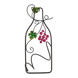 Wine Bottle and Grapes Wall Mount Single Wine Bottle Display - This piece of metal wall art is a perfect gift for the wine aficionado! It measures 21 1/2 inches tall, 8 inches wide, 4 1/2 inches deep and features hand painted leaves and a bunch of sparkling grapes. It stores a single bottle of wine, and easily mounts to the wall with a single nail or screw. It is sure to be admired, and makes a great housewarming gift.