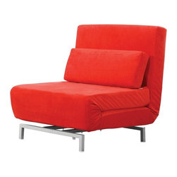 "Lemoderno - Fine Mod Imports  Romano Convertible Sofa, Red - Versatility of form and simplicity that will work comfortably in any setting. Conversion from couch to bed is very simple. Seat dimensions: 15""H Leg dimension: 5.25"" Bed dimensions: 36""W x 77.5""D x 10""H Simple assembly is required Assembly Required"