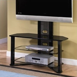 """Z-Line Designs - Madrid 44"""" Flat Panel TV Stand - Features: -Tempered black bordered clear safety glass shelves.-Swivel mount swivels side to side 15 degrees.-Open shelves for proper air circulation.-Wire management for cords and cables.-Piano Black finish.-Tested with ISTA 3A standards.-Recommended TV Type: Flat screen.-TV Size Accommodated: Accommodates most LCD / Plasma TVs up to 60.-Finish: Black.-Powder Coated Finish: No.-Gloss Finish: Yes.-Material: MDF, Metal and glass.-Solid Wood Construction: No.-Distressed: No.-Exterior Shelves: Yes -Number of Exterior Shelves: 3.-Adjustable Exterior Shelves: No..-Drawers: No.-Cabinets: No.-Scratch Resistant: Yes.-Ventilation Features: Open shelves.-Removable Back Panel: No.-Casters: No.-Accommodates Fireplace: No.-Fireplace Included: No.-Lighted: No.-Media Player Storage: Yes.-Media Storage: Yes.-Cable Management: Grommet for wires.-Remote Control Included: No.-Batteries Required: No.-Weight Capacity: 150 lbs.-Swatch Available: No.-Commercial Use: Yes.-Eco-Friendly: Yes.-Recycled Content: No.-Lift Mechanism: No.-Expandable: No.-TV Swivel Base: No.-Integrated Flat Screen Mount: Yes.-Hardware Material: Stainless steel assembly hardware,platic wire cover&nae plate&socket&strap.-Non-Toxic: Yes.-Product Care: Wipe with soft cloth.Specifications: -CARB 2 Certified: Yes.-CARB Certified: Yes.-FSC Certified: No.-CSA Certified: No.-EPP Certified: Yes.Dimensions: -Overall Height - Top to Bottom: 50"""".-Overall Width - Side to Side: 44"""".-Overall Depth - Front to Back: 18"""".-Shelving: -Shelf Height - Top to Bottom: 8.65"""".-Shelf Width - Side to Side: 37.6"""".-Shelf Depth - Front to Back: 16.15""""..-Overall Product Weight: 72 lbs.Assembly: -Assembly Required: Yes.-Tools Needed: Instruction included.-Additional Parts Required: No.Warranty: -Five-year limited lifetime warranty.-Product Warranty: 12 month part warranty."""