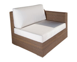 Westminster Teak Furniture - Malaga Luxury All Weather Wicker Sofa - Sink into sumptuous comfort of the Malaga Collection!  Use this Summer Grass Color Left Sofa piece together with a Right Sofa piece to make a standalone sofa. As with other pieces of the Malaga, the sofa pieces, both left and right is only part of what makes this collection highly versatile.