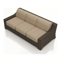 Forever Patio - Bayside Modern Wicker Sofa, Spectrum Mushroom Cushions - The Bayside Sofa (SKU FP-BAY-S-SW-SM) combines incredibly deep seating with broad armrests and a clean profile, giving it lots of comfort and style. The Stone Wood wicker is infused with color and UV-inhibitors, creating a look that will last throughout the seasons. It also sports a thick, flat-weave design that is brimming with modern beauty. This sofa includes fade- and mildew-resistant Sunbrella cushions; the industry's best outdoor fabric. You will also receive matching accent pillows for each seat when you order with Quick Ship fabrics.