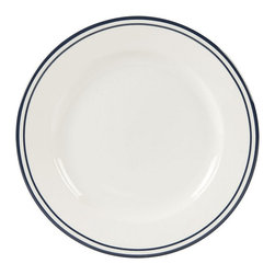 Ballard Designs - Set of 6 Cafe Salad Plates - Restaurant quality porcelain. Dishwasher & microwave safe. For everyday or entertaining. Mix and match the two patterns. Whether you choose the versatility of pure white or prefer the tailored look of crisp double bands of navy blue, you'll never tire of this classic dinnerware. Durable, restaurant-quality porcelain lends itself to a variety of table settings. Rolled edge detail ensures a sturdy grip. Mix and match Dinnerware and Serveware. Cafe Dinnerware features: .  . . .