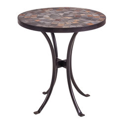 New Rustics - New Rustics Mosaic Slate end Table in Wrought Iron - This new collection brings an artsy street-style cafe look to any outdoor living space. Handmade with wrought iron and unusual handcut rustic slate, pebbles, and glazed tile inlay patterns, these pieces also compliment indoor decor with natural colors and streamlined designs.