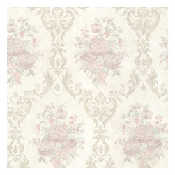 Dutchess Blush Floral Damask Wallpaper Bolt - A glorious and sophisticated floral damask wallpaper in taupe silver and blush mauve with a soft silk finish.