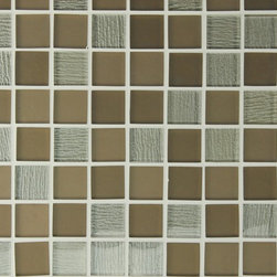 """Rocky Point Tile - Bahia Taupe 1.25 x 1.25 Square Glass Mosaic Tiles, 10 Square Feet - A beautiful mix of matte and high gloss 1.25"""" x 1.25"""" squares on a 12"""" x 12"""" mesh backing. Colors include a variety of taupes. The lighter high gloss squares have a beautiful textured backing that gives these tiles a unique feeling to spice up your new kitchen backsplash or bathroom!"""