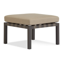 Blu Dot - Blu Dot Jibe Outdoor Ottoman, Carbon / Sunbrella Taupe - A beefy grey powder-coated aluminum frame, nylon support straps, and anti-microbial foam upholstered in resilient Sunbrella fabric team up to make an outdoor seating solution.