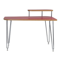 Euro Style - Euro Style Hanh Desk with Shelf Right 02811RED-A/02811RED-B - These designs feature strong, low maintenance melamine surface and deep-v double legs for increased stability and added visual appeal. The desk also includes a corner shelf for either the right or left side of the desk. Perfect for a monitor.
