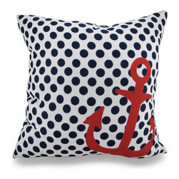 Manual - Navy and White Polka Dot Throw Pillow with Red Anchor Accent 18 in. - Accenting your home inside and out in nautical style is super easy with this vivid navy blue and white polka dot throw pillow that's perfect for your living room sofa, the Adirondack chair on the patio or the chaise lounge in your garden oasis. The 100% polyester cover is water repellent and it's filled with 100% polyester fiber. Measuring 18 inches high by 18 inches long (46 cm by 46 cm), it would look amazing by a pool area, in your seaside cottage or just tossed on the bed, and features a big red anchor accent on both sides. It is recommended to dry clean or spot clean only. This bright and cheerful throw pillow would make an excellent housewarming gift for any nautical style fans