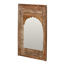 """Sierra Living Concepts - Taj Mahal Hand Carved Reclaimed Wood 44"""" Wall Mirror - Add elegance, sophistication and history to any wall in your home or business with this intricately hand carved Taj Mahal solid hardwood mirror. The mirror carries its own unique history because it is built with reclaimed wood from Gujarat. The surfaces have been seasoned over time and have are authentically distressed. The double frame design includes side posts and a scalloped arch over the mirror."""