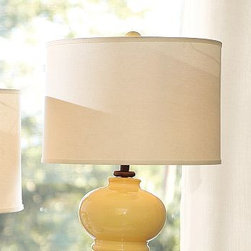 "Linen Straight Drum Lamp Shade, Large, Bisque - The subtle texture of linen gives our Linen Tapered Drum Lamp Shade a rich look. It's finished with matching edging. Small: 12.5"" diameter, 8.5"" high Medium: 14"" diameter, 9.5"" high Large: 17"" diameter, 11"" high Linen-cotton shade with styrene lining. Pair with any of our Mix & Match(R) lamp bases (sold separately)."
