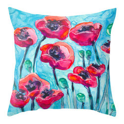Brazen Design Studio - Decorative Pillow Cover - Poppy Sky - Floral Throw Pillow Cushion, 16x16 - Liven up your space with a fine art pillow cover featuring my original artwork! This listing is for one pillow cover featuring my vibrant watercolor painting, on 100% spun designer polyester poplin fabric, a stylish statement to brighten up any room.