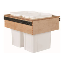"Century Components - Century Components 35 Qt White Double Top Mount Pull Out Waste Bin - Birch, 15"" - 35 Qt White Double Top Mount Kitchen Pull Out Waste Bin Container - 15""W x 17-7/8""H x 22-1/2""D. This unit is designed to be inserted into a new or existing cabinet with a minimum opening width of 15"". Features (2) 35 Quart waste bin containers. Century Components CASTM14PF is made from Baltic Birch with Dovetail Construction with a clear natural finish for great appearance, quality and durability."