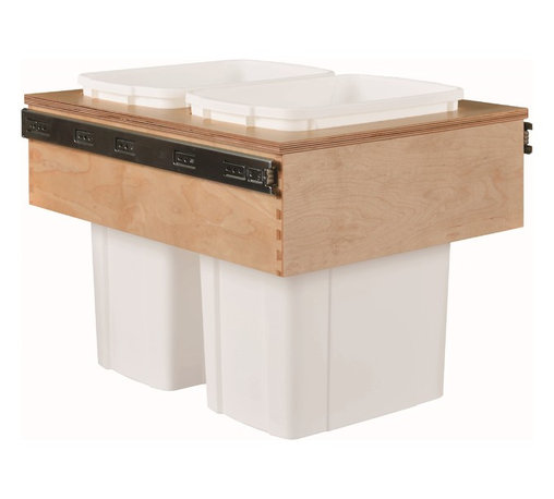 """Century Components - Century Components 35 Qt White Double Top Mount Pull Out Waste Bin - Birch, 15"""" - 35 Qt White Double Top Mount Kitchen Pull Out Waste Bin Container - 15""""W x 17-7/8""""H x 22-1/2""""D. This unit is designed to be inserted into a new or existing cabinet with a minimum opening width of 15"""". Features (2) 35 Quart waste bin containers. Century Components CASTM14PF is made from Baltic Birch with Dovetail Construction with a clear natural finish for great appearance, quality and durability."""