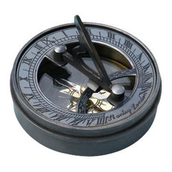 Small Antique Patina Brass Sundial/Magnetic Compass w/ Lid - This is a beautiful patina solid brass reproduction of an antique pocket sundial with an internal magnetic compass.  The top of the sundial has a curved scale which is used to set your local latitude angle.  The magnetic compass allows the sundial to be oriented North. The sun's shadow cast by the sundial's vane marks the local time.  The sundial comes with a removable lid, which can be placed on the bottom of the sundial when open.  The sundial vane is hinged to lay flat for compact storage.  When closed, the sundial measures 2 3/4 inches (7 cm) in diameter, 1 1/8 inches (2.85 cm) tall, and the sundial weighs 7.3 ounces (207 grams).