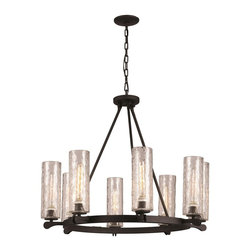 Hammered Glass 8 Light Chandelier -