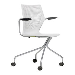 Knoll - MultiGeneration Hybrid Chair - A modern chair for all of life's twists and turns! Everything about this chair celebrates movement and comfort, from the contoured back with ventilation holes to the angle of the arm supports. Solid steel supports you and the casters promote round-your-world armchair travel to and from the craft room, home office or breakfast nook.