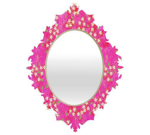 DENY Designs - Joy Laforme Tropical Wild Blooms Baroque Mirror - As we like to say around here, if it ain't baroque, don't hang it! With a sleek mix of baltic birch ply trim that's unique to each piece and a glossy aluminum frame, the baroque mirrors collection bumps your stylish reflection up a notch. Custom made in the USA for every order.