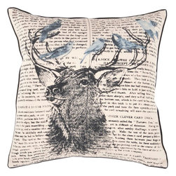 "Surya - Surya HH-116 Chic Deer Pillow, 18"" x 18"", Poly Fiber Filler - Get swept up in the staggering beauty of this lavishly designed pillow. Embodying trendy decor, the deer image splashes pristinely against the quirky text filled backdrop creating an excellent look for any space. This pillow contains a zipper closure and provides a reliable and affordable solution to updating your home's decor. Genuinely faultless in aspects of construction and style, this piece embodies impeccable artistry while maintaining principles of affordability and durable design, making it the ideal accent for your decor."