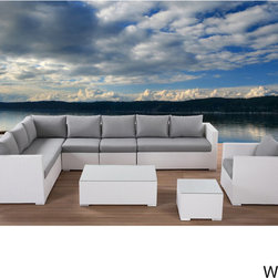 Beliani - Beliani Wicker Sectional Outdoor Lounge Furniture Set XXL - Great outdoor sectional lounge set in white wicker. L-shape or U-shape setups possible. This lounge set is constucted of high quality durable materials.