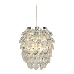 Light & Living - Crystal Mini-Pendant Light - 3008201 - Polished chrome crystal mini-pendant light. Takes (1) 40-watt incandescent T3 bulb(s). Bulb(s) sold separately. UL listed. Dry location rated.