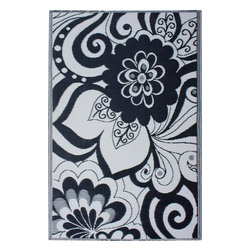 Fab Habitat - Indoor/Outdoor Maui Rug, Black & Cream, 5x8 - Add a touch of flower power to your patio or playroom. This playful all-weather rug is woven from straws made of recycled plastic. Washable and mildew resistant, it's an ideal blend of good looks and easy maintenance. Comes with its own tote bag for convenient transport or storage.