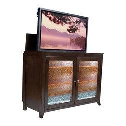 "Touchstone Home Products - Carmel Espresso TV Lift Cabinet for Flat Screen up to 60"" - The Carmel TV Lift cabinet features crisp lines and a rich espresso finish just like our Monterey TV lift cabinet. This model features beautiful wavy glass on the front facing door panels making it a versatile entertainment center which compliments a variety of decorating tastes. This heirloom-quality cabinet with quiet, smooth electro-mechanical lift accommodates plasma and LCD TVs up to 55"" wide by 32.5"" tall and 4.5"" deep. It features solid birch with espresso veneers with wavy glass panels. The Carmel comes IR ready allowing access to components via remote control behind the wavy glass doors."