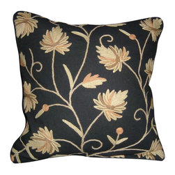 Crewel Fabric World - Crewel Pillow Peaces Black Cotton 16x16 Inches - Artisans in a remote mountain village in Kashmir crewel stitch these blossoms, vines and leaves by hand, resulting in a lush pattern of richly shaded wool yarns on Linen, Cotton, Velvet, Silk Organza, Jute. Also backed in natural linen, Cotton, Velvet Silk Organza, Jute with a hidden zipper.