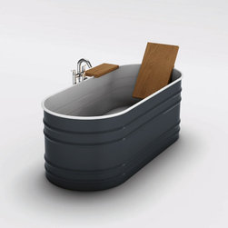Vieques Bathtub - I love the update to the classic 'horse trough' style bathtub - I hope I'm not offending anyone by saying that! The contrast of the wood back rest and shelf are really nice against the deep blue enamel as well.