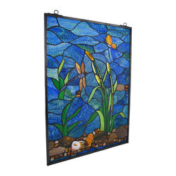 Zeckos - Blue River Dragonfly/Butterfly Art Glass Vertical Window Panel - Add a decorative scene to your window with this textured art glass panel. It measures 24 3/4 inches tall, 18 1/4 inches wide, 1/4 inch thick and has a 12 1/2 inch drop, hanging from the black chain. Over 100 hand cut, textured pieces of glass are artfully accented by smooth, polished river rocks, giving the piece a 3D effect. The cool, natural Earth tones bring a calming presence to any room, while providing privacy and a pretty focal point.