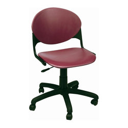 KFI Seating - Task Chair w Polypropylene Seat & Back - Set - Color: Navy BlueSet of 2. Task chair. Has a contoured polypropylene seat and back. The five star base has dual wheel hooded casters and a pneumatic lift. Pictured in Burgundy. 19.5 in. W x 18.5 in. D x 30.5 to 35 in. H