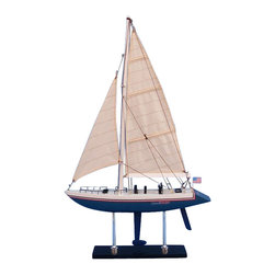 """Handcrafted Nautical Decor - Stars and Stripes 23"""" - Wooden Sailboat Centerpiece - Not a model ship kit... Attach Sails and the Stars & Stripes model yacht is Ready for Immediate Display. Enjoy the freedom of the seas, the thrill of the race and the sweet taste of victory with the Stars & Stripes model yacht of the famous America's Cup racing yacht."""