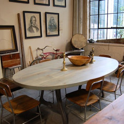 Oval Table - Oval Table Stained Wisteria, a lovely drift-wood-grey