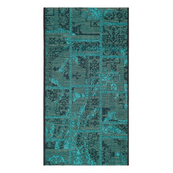 """Safavieh - Abel Rug, Black / Turquoise 2' X 3'6"""" - Construction Method: Power Loomed. Country of Origin: Turkey. Care Instructions: Vacuum Regularly To Prevent Dust And Crumbs From Settling Into The Roots Of The Fibers. Avoid Direct And Continuous Exposure To Sunlight. Use Rug Protectors Under The Legs Of Heavy Furniture To Avoid Flattening Piles. Do Not Pull Loose Ends; Clip Them With Scissors To Remove. Turn Carpet Occasionally To Equalize Wear. Remove Spills Immediately. Elegant Old World velvet motifs make a fashion statement for the floor in PALAZZO. A rich vintage look is achieved with a combination of lustrous and matte yarns in polypropylene and natural jute, and textural chenille for velvety pattern dimension."""