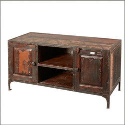 Industrial Reclaimed Wood & Iron TV Media Console DVD Storage Cabinet - We combined the edgy feel of the industrial style with the easy comfort of Farmhouse furniture for our Fusion Entertainment Cabinet.