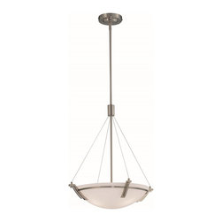 Lite Source - Lite Source Silvia I Contemporary Pendant Light XSL-SP13091 - This truly contemporary pendant light fixture is sleek and modern, with industrial details. Created with frosted glass and a polished steel frame and canopy, this pendant light will add a chic touch to any minimal, contemporary interior design.