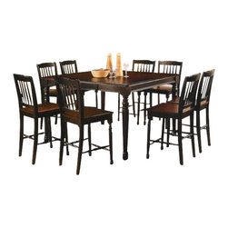 "Acme - Carriage House 7 PC Distressed Black Finish Wood Counter Height Dining Table Set - Carriage house 7-Piece distressed Black finish wood counter height dining table set, This set features a country style distressed Black and dark brown wood finish table with dark brown wood top and seats and a butterfly leaf on the table. Each chair has a dark brown wood seat and is a 24"" seat height. Table measures 54"" x 36"" without the leaf and 54"" x 54"" x 36"" H with the leaf. Some assembly required. Additional chairs also available."