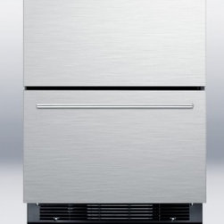 """Summit - SPRF2DIM 24"""" Freestanding Drawer Refrigerator-Freezer With Digital Thermostat  I - Two-drawer refrigerator-freezer for built-in or freestanding use fully frost-free with digital thermostat and stainless steel front"""