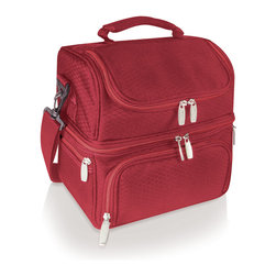 Picnic Time - Pranzo Picnic Tote - Red - The Pranzo is an insulated lunch box that features isolated sections so you can separate your hot and cold food and drink items. Made of polyester (exterior and interior). The Pranzo is perfect for school, work, day trips and gift giving occasions.