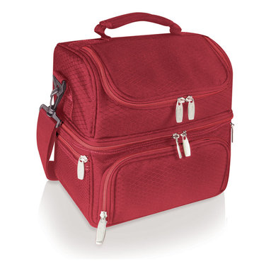 Picnic Time - Pranzo Picnic Tote, Red - The Pranzo is an insulated lunch box that features isolated sections so you can separate your hot and cold food and drink items. Made of polyester (exterior and interior). The Pranzo is perfect for school, work, day trips and gift giving occasions.