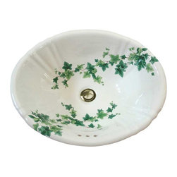 Ivy Hand Painted Sink - The Ivy design on this sink is delicately painted in various greens including mint, lime and forest in shades from light to dark with deep brown vines. Looks great in a traditional or Victorian bathroom but works very well in a modern one too. This design can easily be adapted to any style of sink or lavatory.