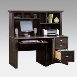Sauder - Sauder Harbor View Computer Desk and Hutch Multicolor - 401634 - Shop for Desks from Hayneedle.com! Give your office space traditional style and generous storage with our Sauder Harbor View Computer Desk and Hutch. Constructed of laminate over engineered wood it features a laminate desktop and a rich dark antiqued paint finish with great detailing that includes a beadboard back panel.Two large spaces in the hutch are perfect for your computer monitor and printer and six smaller cubbies above help keep you organized. The desk features two storage drawers and a file drawer that holds letter legal or European size file folders. All the drawers feature our patented T-lock assembly system that makes assembly a breeze. The storage drawers have metal sliders and safety stops and the file drawer has full-extension slides. A cabinet with a louvered door accommodates your vertical CPU and ensures that air circulates to it and a slide-out keyboard/mouse tray offers added convenience and helps de-clutter your desktop. With its beveled top edge and handsome looks you can't go wrong with this great desk. Assembly required.DimensionsOverall: 62.25W x 23.5D x 57.375H in.Desk: 62.25W x 23.5D x 29.875H in.Hutch: 62.25W x 11.5D x 27.5H in.Kneehole: 29.25W x 23.5D x 25.75H in.Monitor: 29.25W x 23.5D x 18.625H in.CPU: 10.75W x 22.5D x 23.375H in.Keyboard tray: 29.25W x 23.5D in.About SauderSauder is North America's leading producer of ready-to-assemble (RTA) furniture and the nation's fifth largest residential furniture manufacturer. Based in Archbold Ohio Sauder also sources furniture from a network of quality global partners including a line of office chairs that complement its residential and light commercial office furniture. Sauder markets more than 30 distinct furniture collections in a full line of RTA furnishings for the home entertainment home office bedroom kitchen and storage.Sauder is a privately held third-generation family-run business. The company prides itself on its awareness that all function and no fashion makes for a dull living space when it comes to home furnishing products. That's why Sauder's award-winning design team has produced more than 25 collections of stylish furniture that span the design spectrum. From minimalist modern or contemporary to classic 18th century or country styles Sauder has what you're looking for. The company offers more than 500 items - most priced below $500 - that have won national design awards and generated thousands of letters of gratitude from satisfied consumers.