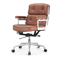 Meelano - M340 Lobby Office Chair in Brown Leather - You are expected to adjust to any work situation. Lucky for you, you have the right chair for the job. This work chair is fully adjustable and doesn't sacrifice looks for comfort. Futuristically styled, ergonomically correct and absolutely gorgeous deep leather padding. Don't go to work without it!