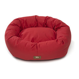 West Paw Design - Organic Bumper Bed dog stuffed bed in Ember color option; Small - 2Xlarge, Xlarg - The Bumper Bed® with Organic Cotton is made with a removable organic cotton cover, helping Mother Earth by reducing the amount of chemicals we put into the ground. The cushion used on the inside of the donut dog bed is made from 100% recycled IntelliLoft®, previously plastic bottles. With a clean, crisp feel there is no better designer dog bed out there for pets, people and the planet. Try it wth your allergic, sensitive or orthopedic pups. This bed is Certified Safe by third party testing! You and your furry friend can rest comfortably, knowing that every part of this dog bed has been rigorously tested for over 100 potentially harmful substances and found to be 100% Safe! Machine washable with a zippered opening for easy washing. Five sizes range from the extra small dog bed for the tiny breeds to the extra large dog bed for those friends we have with the really big paws. Made in Montana, USA.