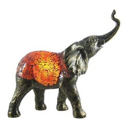 Amber Crackle Glass Elephant Accent Lamp Bronzed Base - This beautiful amber crackle glass elephant shaped lamp adds the perfect accent to desks or nightstands of elephant lovers. Measuring 12 1/2 inches tall, 13 1/2 inches wide and 5 1/2 inches deep, the lamp features an antiqued cold cast resin base of the elephant's legs and head, with the body of the elephant made of amber crackled glass. It uses one nightlight style bulb (included). It makes a great gift idea.