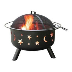 "Landmann - Big Sky Fire Pit, Stars & Moon, Black - This Big Sky Fire Pit features Stars and Moon cut outs with a black finish. Sturdy steel construction is designed for easy assembly. It has a large 23.5"" diameter bowl with full diameter handle. Comes with full size porcelain cooking grate. Includes poker and Spark guard. 29.5""Lx29.5""Wx23""H 32 lbs."