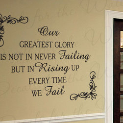 Decals for the Wall - Wall Decal Sticker Quote Vinyl Art Lettering Removable Get Up When You Fall IN61 - This decal says ''Our greatest glory is not in never failing but in rising up every time we fail''