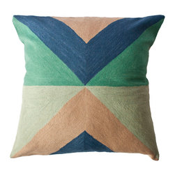 Zimbabwe Landscape Spring Pillow - Inspired by the shapes and colors of different flags, these colorful geometric pillows are hand-embroidered by women artisans in north India.